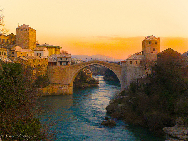 Evening at Stari Most in Mostar, Bosnia and Herzegovina