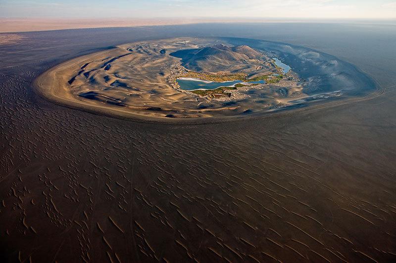 Aerial view of Wau-en-Namus  in southern Libya