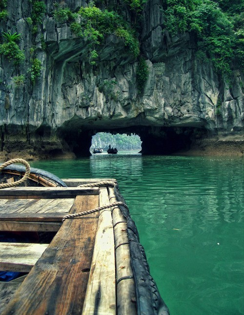 Rock tunnel, Phang-Nga Bay, Thailand.