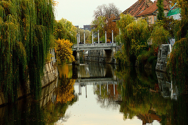 Autumn reflections in Ljubljana, Slovenia