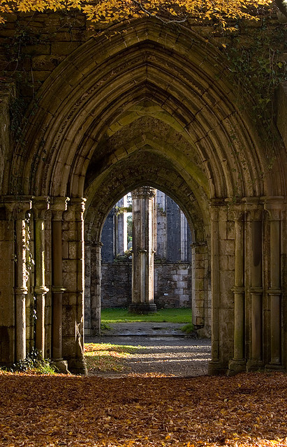 Arches in the abbey at Margam Park, South Wales