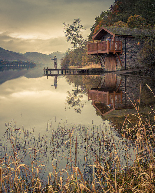 Fishing at the Duke of Portland boathouse, Ullswater Lake, England