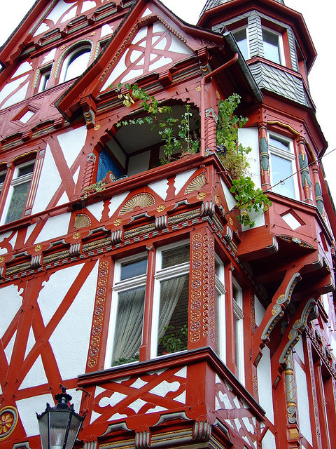 Beautiful red timber house in Marburg, Germany