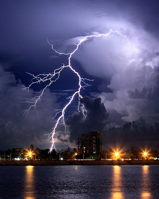 Lightning over the Tonle Sap Lake in Phnom Penh, Cambodia