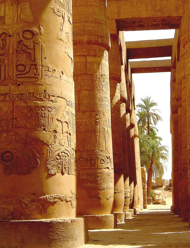 Mighty pillars of Karnak Temple in Luxor, Egypt