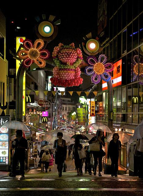 Rainy night in Harajuku district, Tokyo, Japan