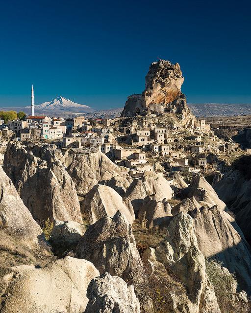 Ortahisar Rock Castle in Cappadocia, Turkey