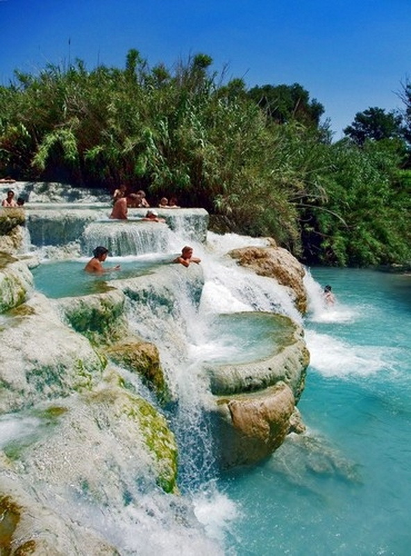 Hot water pools of Saturnia in Tuscany, Italy