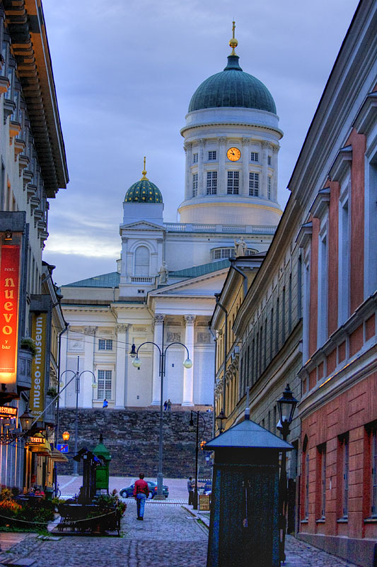 Evening on the streets of Helsinki, Finland