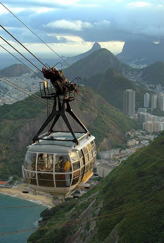 Cable car up to Sugarloaf Mountain, Rio de Janeiro, Brazil