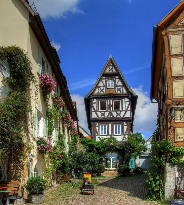 Picturesque street scene in the historic spa town of Bad Wimpfen, Germany