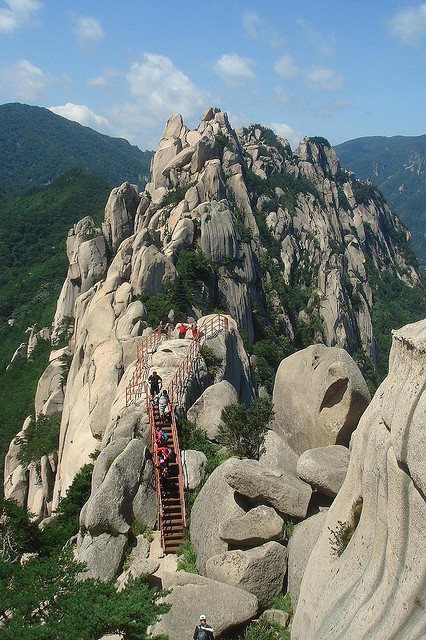 Climbing stairs to Ulsan Rock, Seoraksan National Park, South Korea