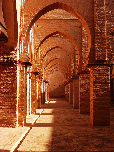 Arches of Tin Mal Mosque in Atlas Mountains, Morocco