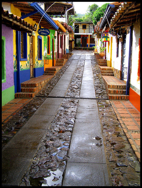 Colorful houses on the streets of Peribeca, Venezuela