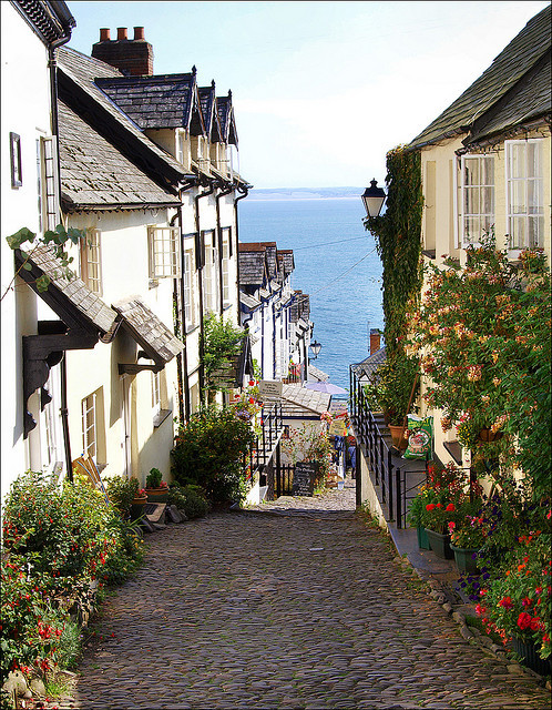 Picturesque cobbled streets of Clovelly, North Devon, England