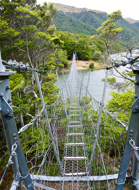 Swing bridge at North Mavora Lake in New Zealand