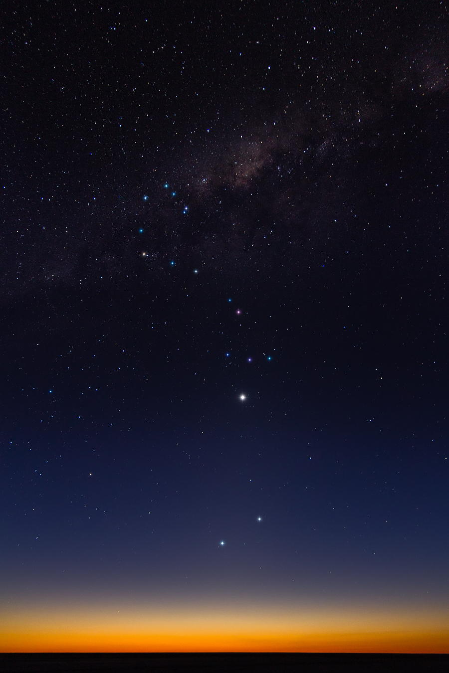 The Milky Way, the constellation of scorpio, and Venus, view from Argentina