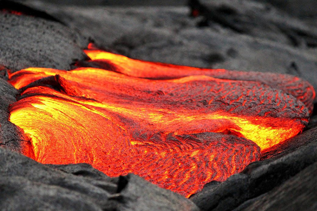 Lava flows in Hawaii