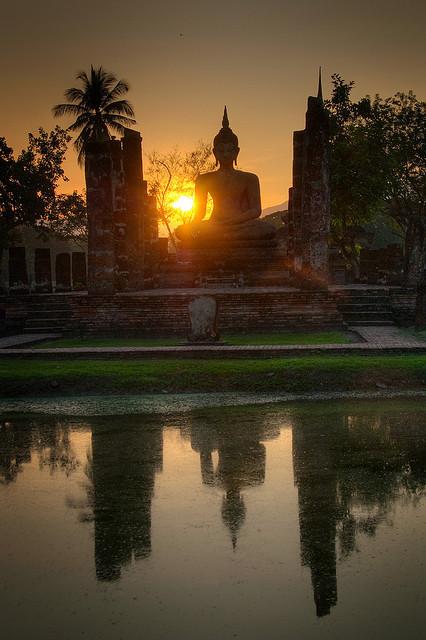 Sunset reflections in Sukhothai / Thailand