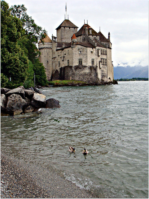 Rainy day at Chillon Castle, Vaud / Switzerland