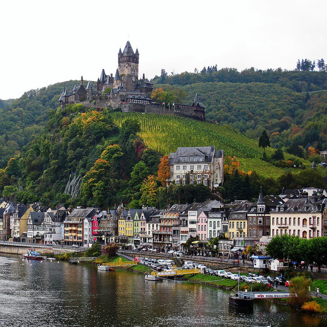 Cochem Castle from the Moselle Bridge / Germany
