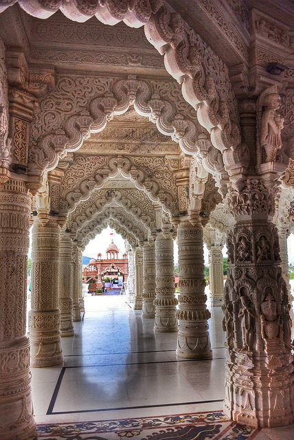 Exquisite oriental architecture at Swaminarayan Temple in Bhuj / India